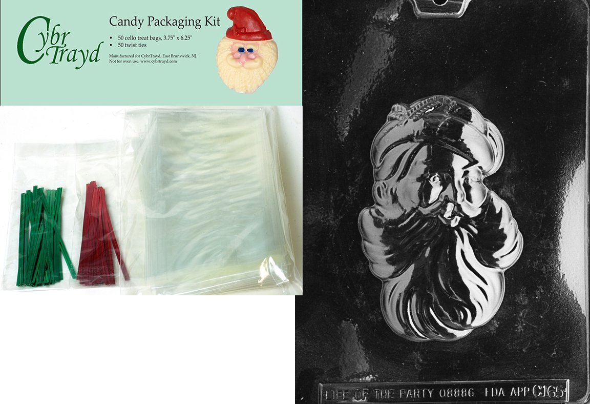 25 Red and 25 Green Twist Ties Cybrtrayd MdK50C-C165 Santa Head Christmas Chocolate Mold with Chocolate Packaging Kit and Molding Instructions Includes 50 Cello Bags