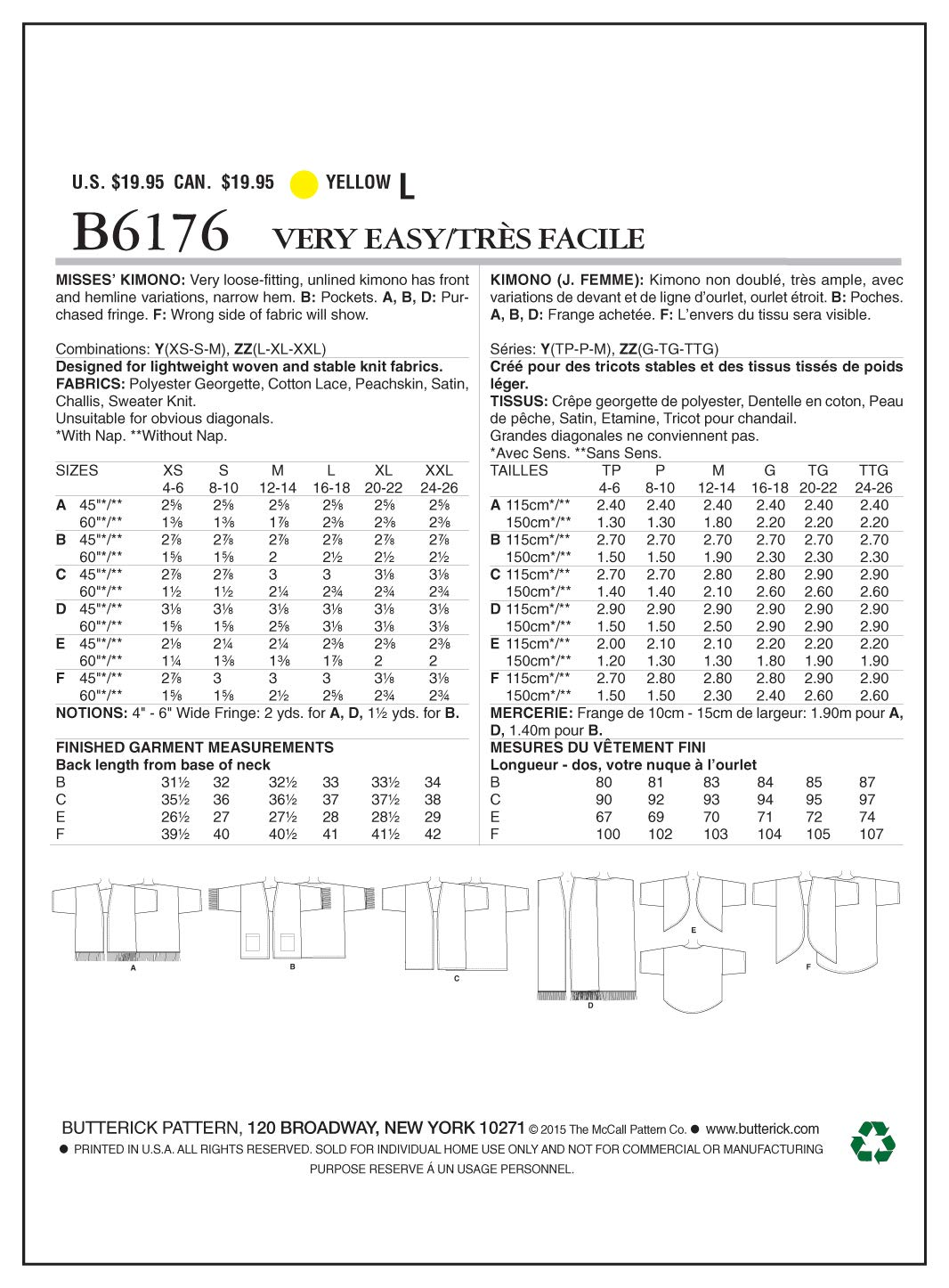 Butterick Patterns 6176 Y - Patrones de Costura para Kimono para ...