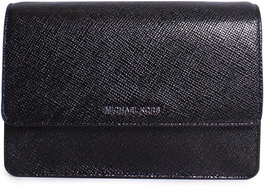 42dc01801 Michael Michael Kors Daniela Large Gusset Metallic Leather Crossbody Bag in  Black