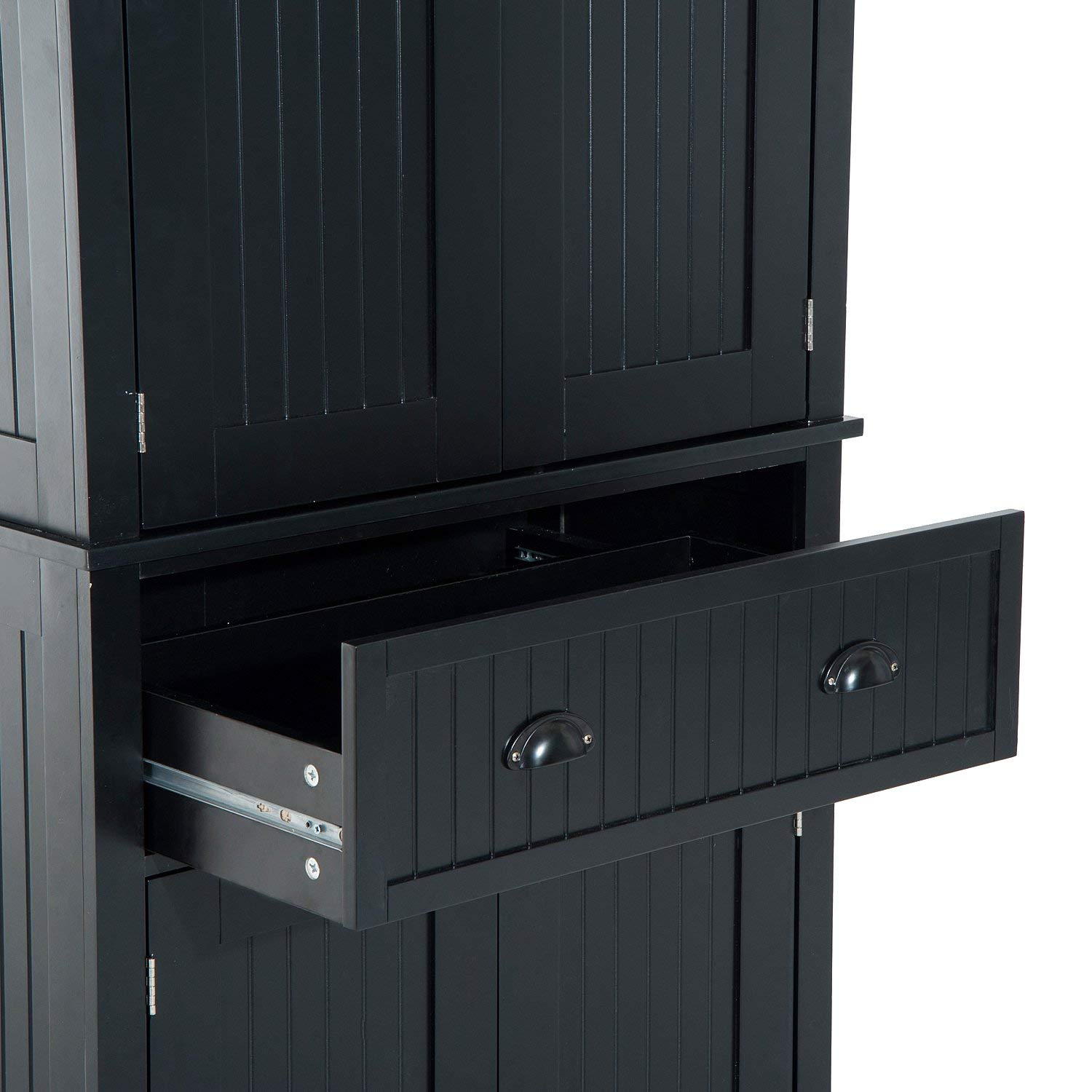 """Festnight Tall Kitchen Pantry Storage Cabinet, Traditional Standing Kitchen Pantry Cupboard Cabinet Black 72"""" by Festnight (Image #8)"""