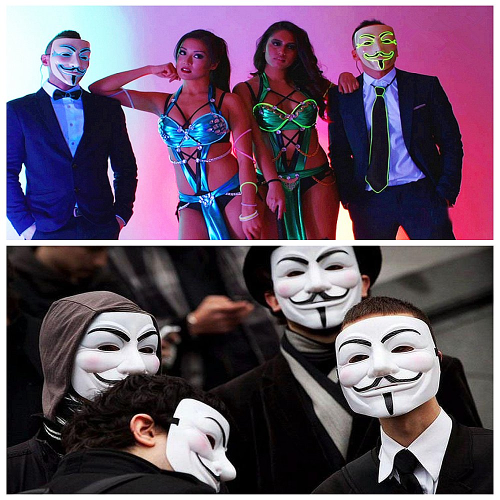 Cool Blue Light, 2 Modes ELINKUME Halloween Cosplay LED Masque Lumineux V Ghost Step Dance n/écessaire Props Vendetta Replica Mask R/ésine