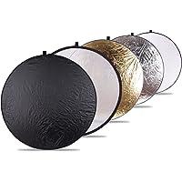 """5-In-1 Portatile e Pieghevole, Rotonda Multi-disco Riflettore con Borsone(bianco, nero, argento, oro e traslucido)43 """"/ 107cm"""
