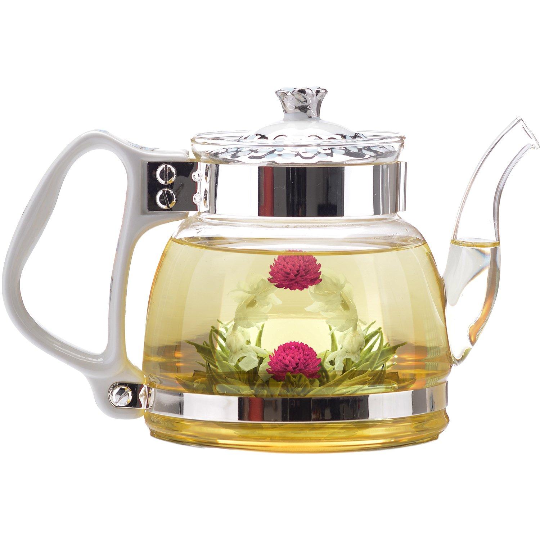 Teabloom Princess of Monaco Teapot & Blooming Tea Gift Set (6 Pieces) - Borosilicate Glass Teapot (34oz/1000ml), Porcelain Lid, Teapot Warmer, Porcelain Tea Infuser + 2 Berry Flowering Teas by Teabloom (Image #3)