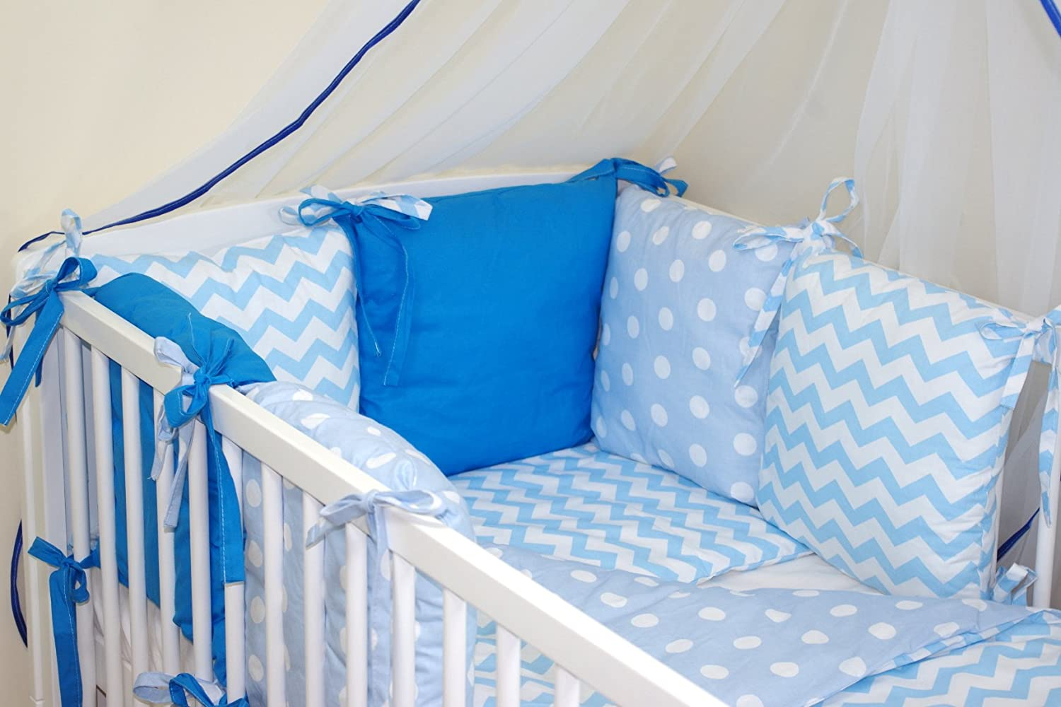 10 COTBED with PILLOW BUMPER NEW 8 PCS BABY BEDDING SET FOR COT 27 COLOURS