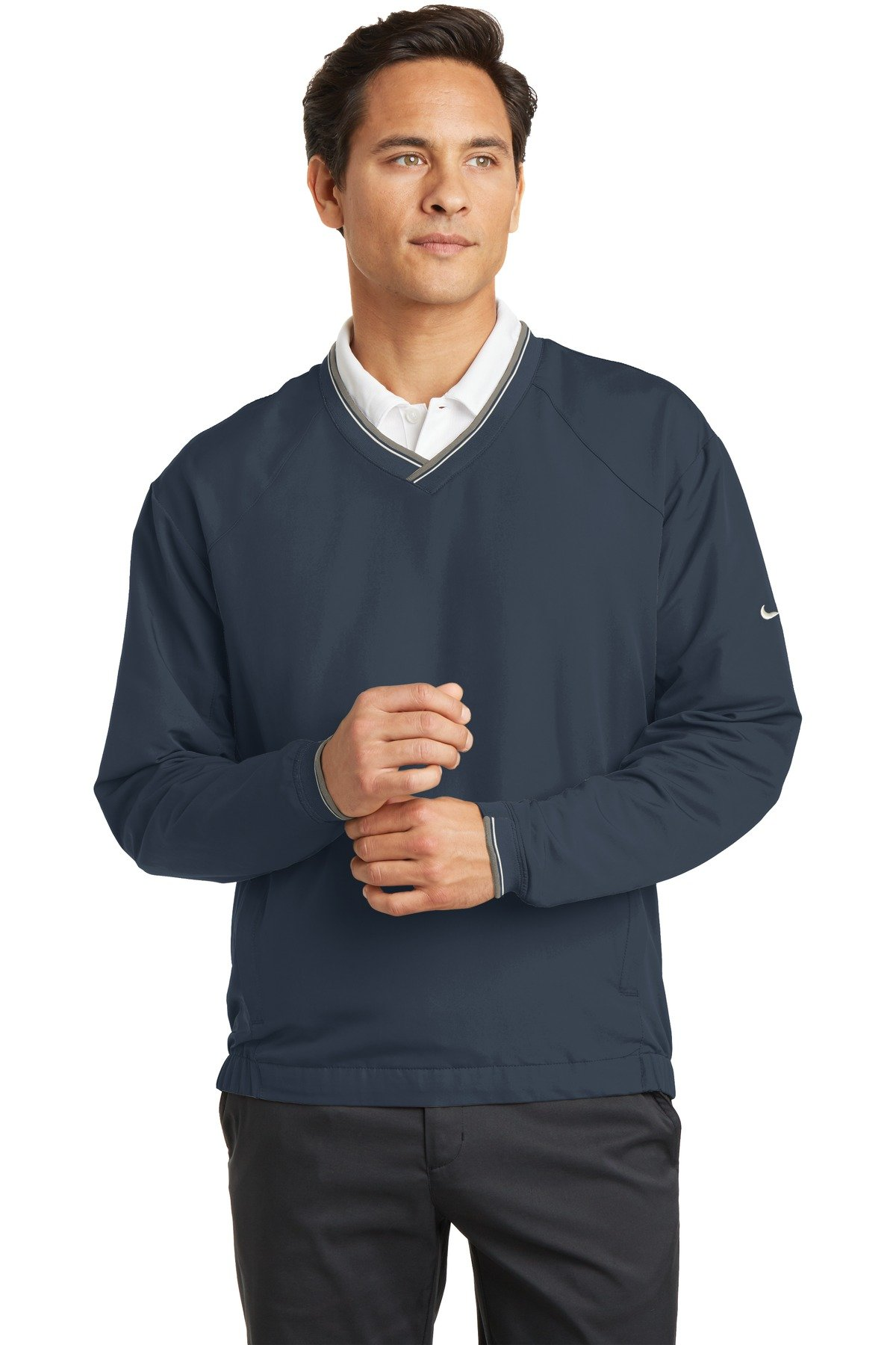 Nike Golf - V-Neck Wind Shirt , 234180, Navy, S by Nike