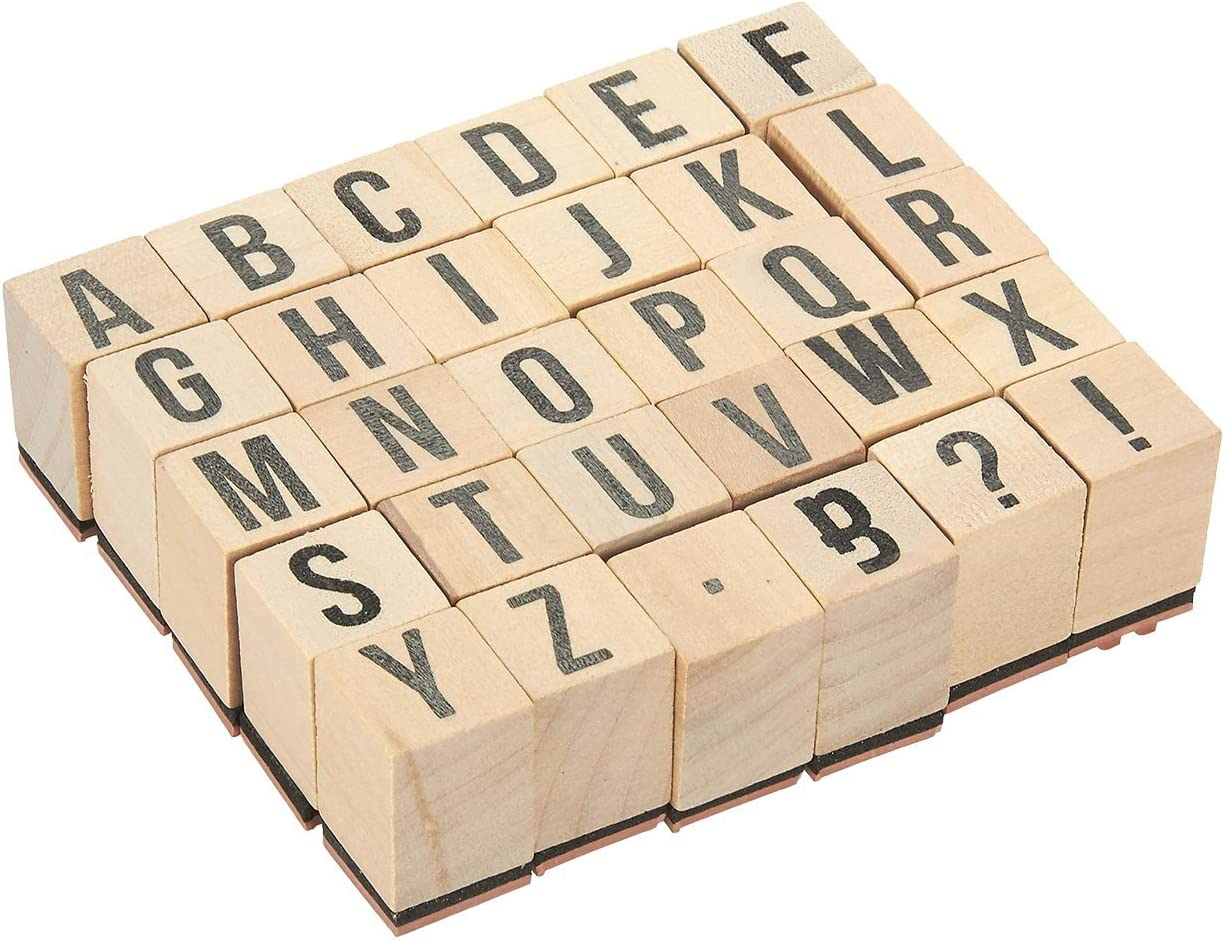 Wooden ABC Stamps - 30-Piece Alphabet Stamps Letters and Symbols Set - Wood Mounted Rubber Stamps for Card Making, DIY Crafts, Scrapbooking