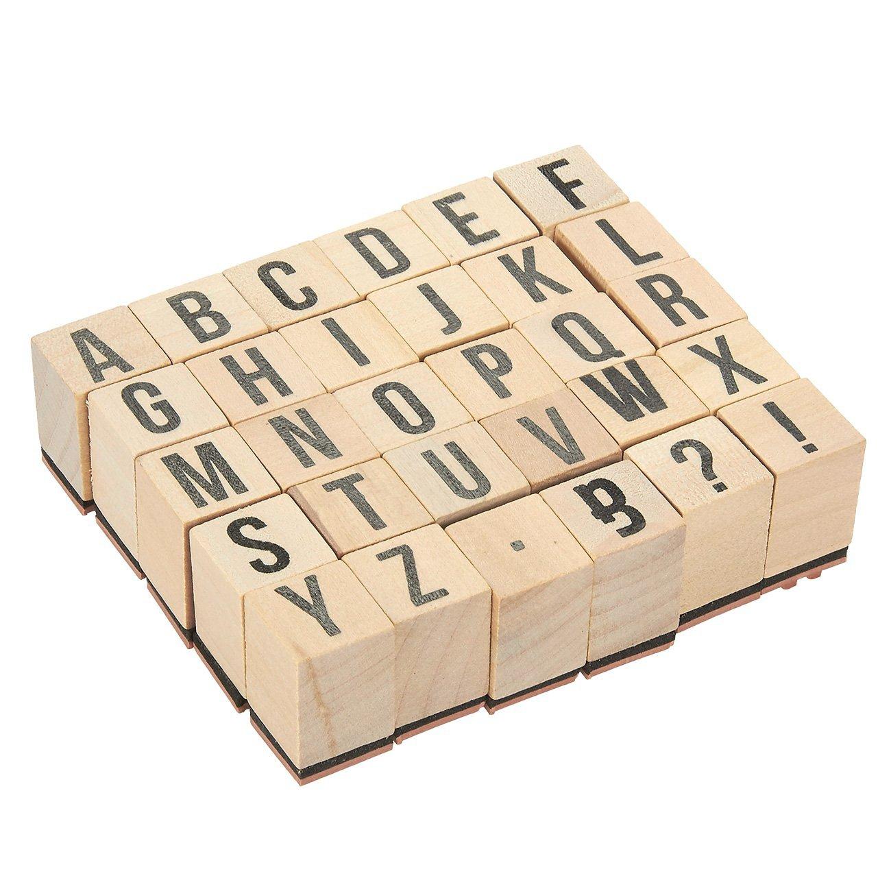 Francobolli ABC in legno –  pezzi Set punzoni lettere dell' alfabeto e simboli –  legno montato timbri di gomma per la creazione di biglietti, lavoretti e scrapbooking Juvale 4336991955