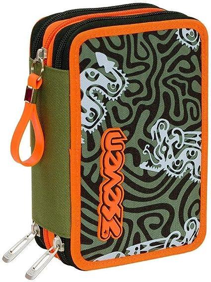 Estuche escolar completo con 3 cremalleras Seven Totem, color verde y naranja: Amazon.es: Oficina y papelería