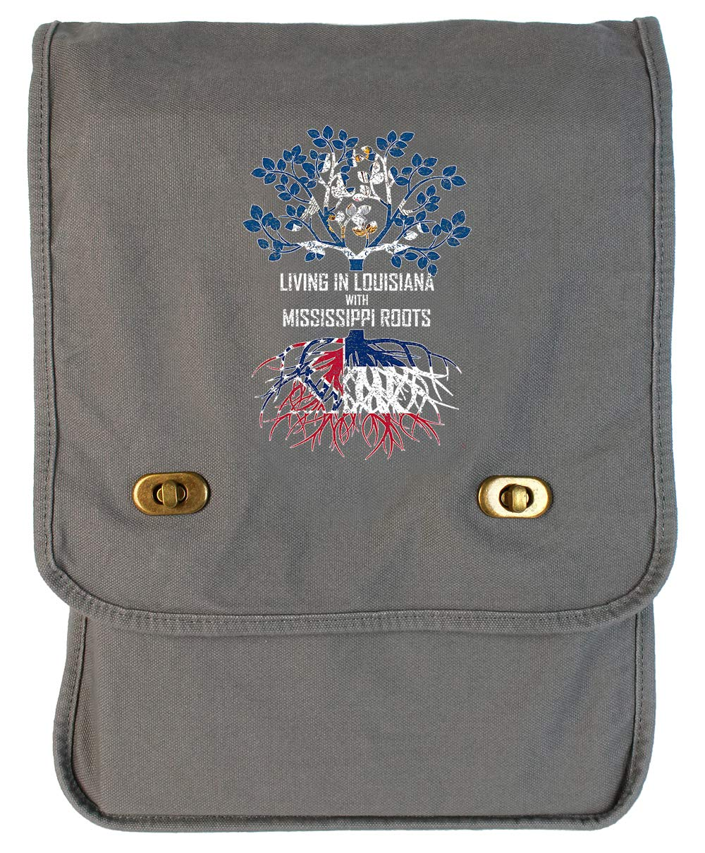 Tenacitee Living In Louisiana with Mississippi Roots Grey Brushed Canvas Messenger Bag