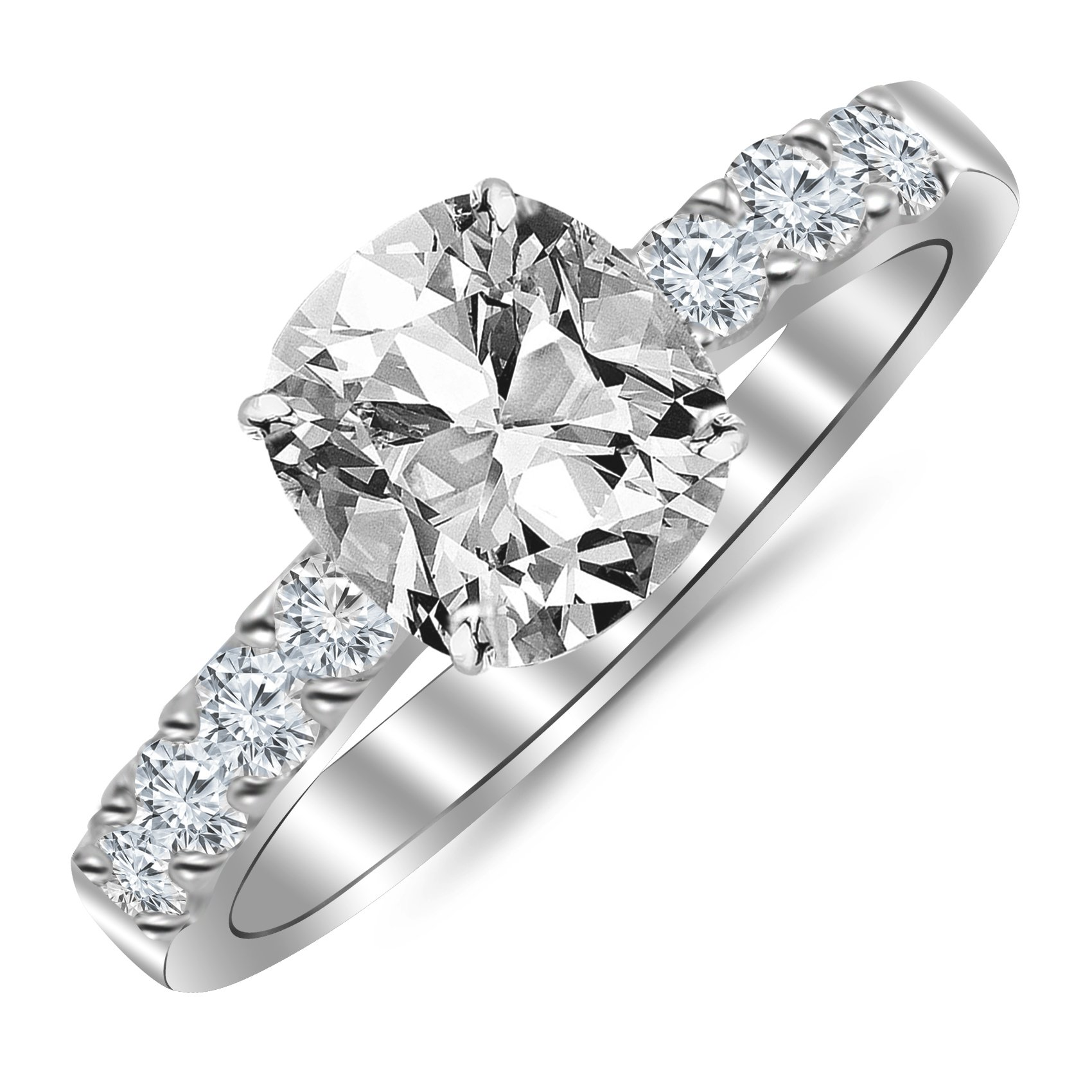GIA Certified 1.04 Carat Cushion Cut/Shape 14K White Gold Classic Prong Set Diamond Engagement Ring 4 Prong with a 0.53 Carat, J Color, SI1 Clarity Center Stone