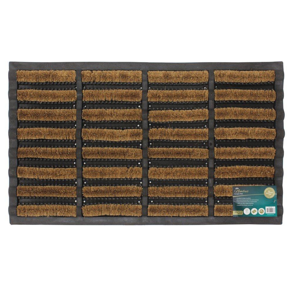 JVL Heavy Duty Nimbus Rubber Natural Coir Tuffscrape Door Mat, Rattan, 40 x 60 cm 02-170