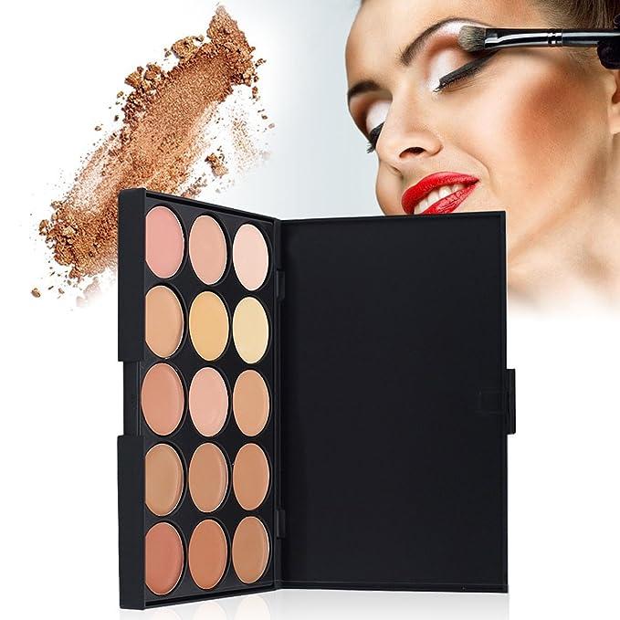 15 colores de la gama de la cara Concealer, cosméticos de la fundación del rostro de DISINO para cubrir para arriba manchas y círculos oscuros: Amazon.es: ...