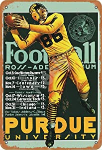 Retro Metal Tin Sign Vintage Purdue Football Aluminum Sign for Home Coffee Wall Decor 8x12 Inch