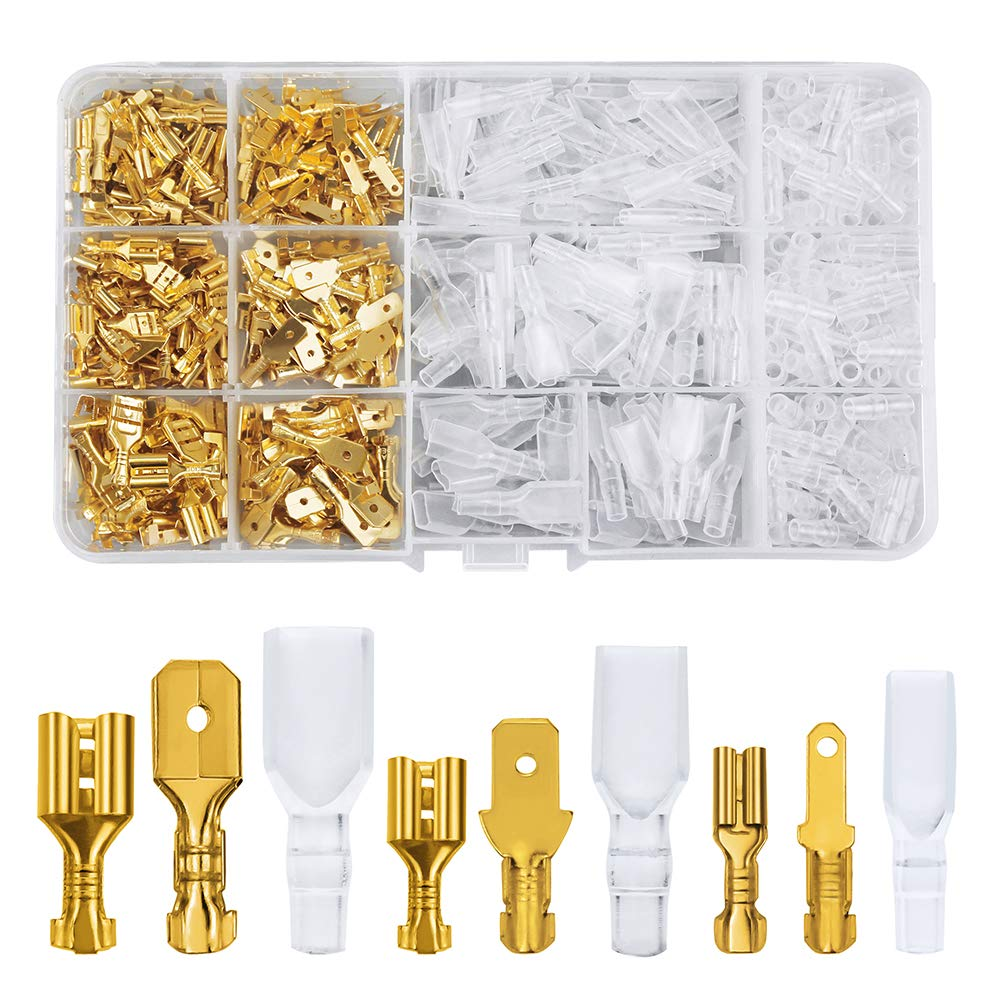 FIXITOK 480pcs Quick Splice 2.8/4.8/6.3mm Male Female Wire Spade Connector Wire Crimp Terminal Block with Insulating Sleeve Assortment Kit for Electrical Wiring Car Audio Speaker (Golden)