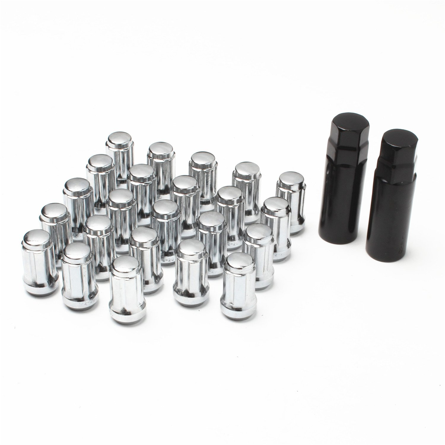 APL-N021C Set of 23pcs 1/2 x 20 with 2 Keys 1.38'' 35mm Chrome Spline Lug Nuts Closed End Long fit Jeep Dodge Ford Lincoln Mercury