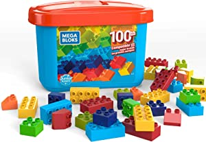 Mega Bloks Open-Ended Play Brick Box for Junior Builders: Building Toys for Creative Play (100 Pieces)