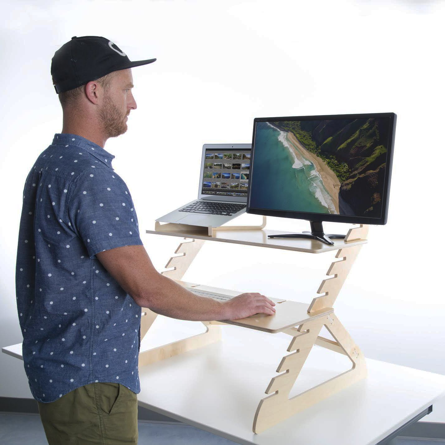 amazoncom readydesk 2 adjustable standing desk converts any desk to a dual monitor stand up desk designed and made in usa of sustainable birch wood
