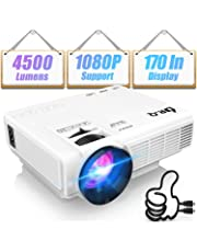 DR.Q HI-04 Projector 1080P Full HD and 170'' Display Supported, Upgraded 4500 LUX Video Projector Compatible with TV Stick PS4 XBOX HDMI VGA TF AV USB, Home Theater Projector, White.