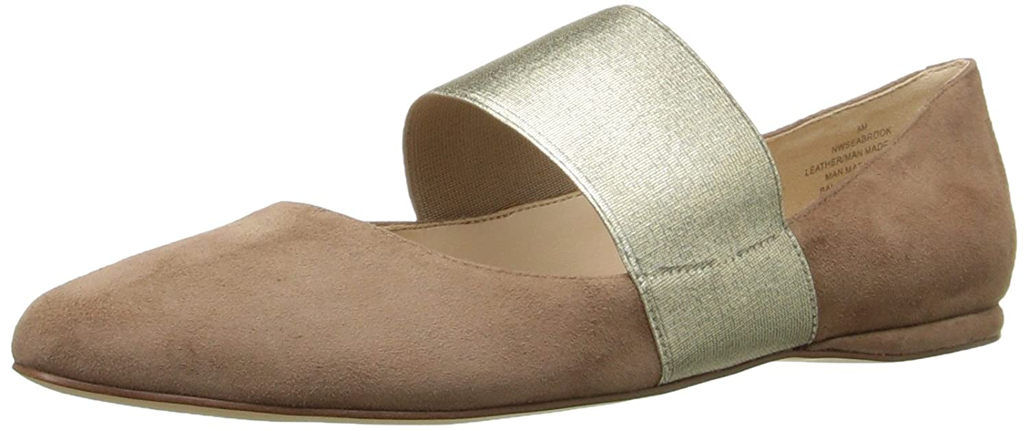 Nine West Women's Seabrook Suede Ballet Flat B006N0L9H4 8.5 M US|Natural/Light Gold