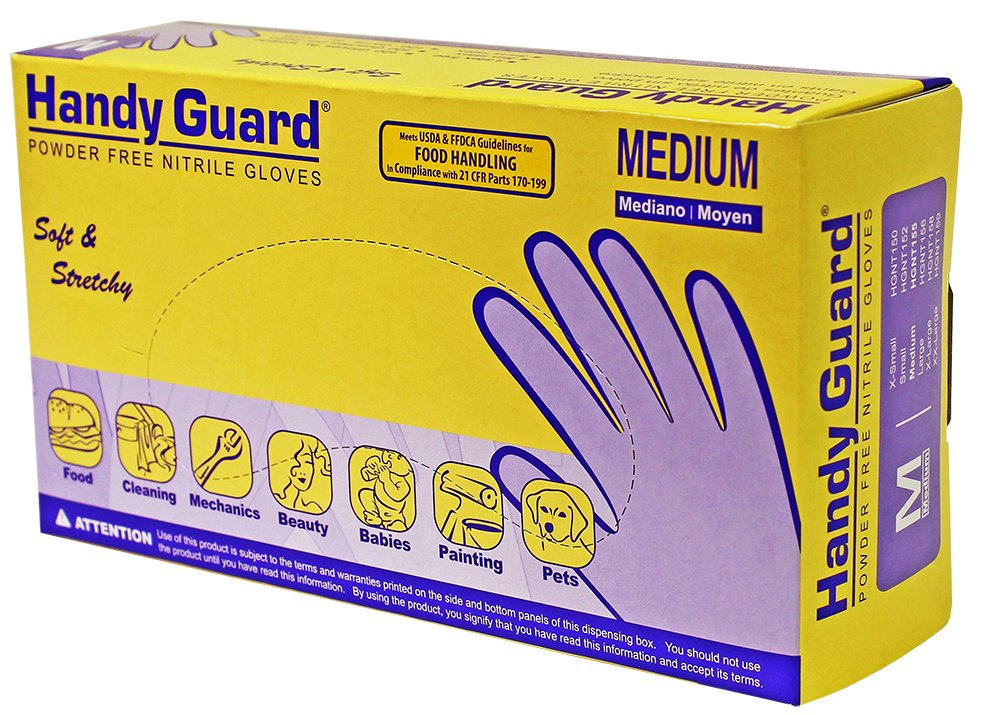 Adenna Handy Guard 3.5 mil Nitrile Powder Free Gloves (Violet, Medium) Box of 100