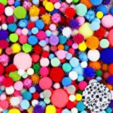 HEHALI 1600pcs Pom Poms Set, Including 1500pcs Pom Poms Craft Assorted Sizes and Colors with 100pcs Wiggle Googly Eyes for Ho