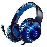 Auriculares para juegos Pacrate con reducción de ruido de micrófono y control de volumen de luces LED compatibles con PC, lap