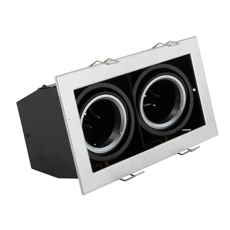 3er SET Doppel Einbaurahmen rechteckig - Premium Metall Box - silber - GU10