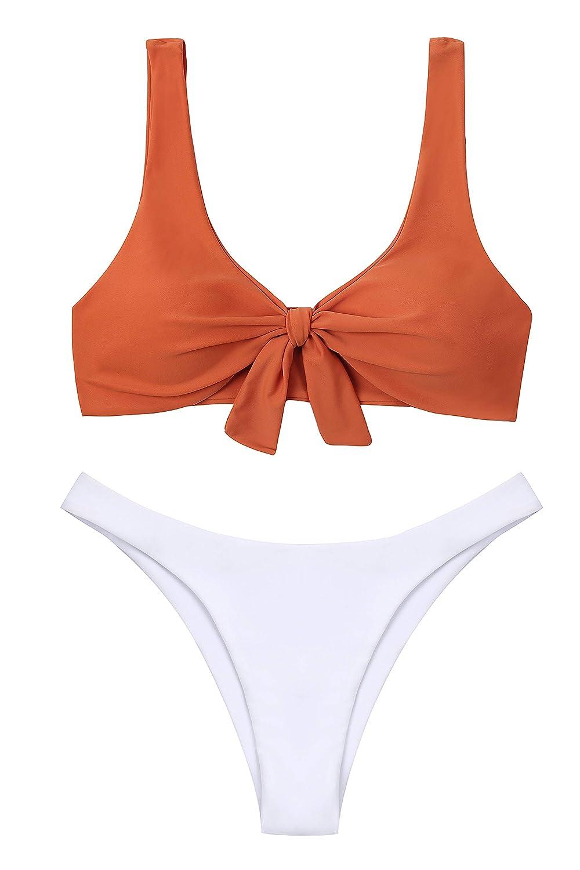 Caramel Lemonfish Women's Bikini Swimsuit Tie Knot Front Swimwear Set 2 Pieces Solid Bathing Suits
