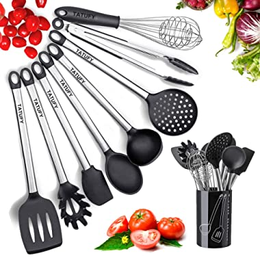 Tatufy Kitchen Utensils Set 9 Cooking Utensils Set, Silicone & Stainless Steel Spatula Set, Nonstick Non-Scratch and Heat Resistant Cookware Set with Holder, Great Kitchen Tools for Gift