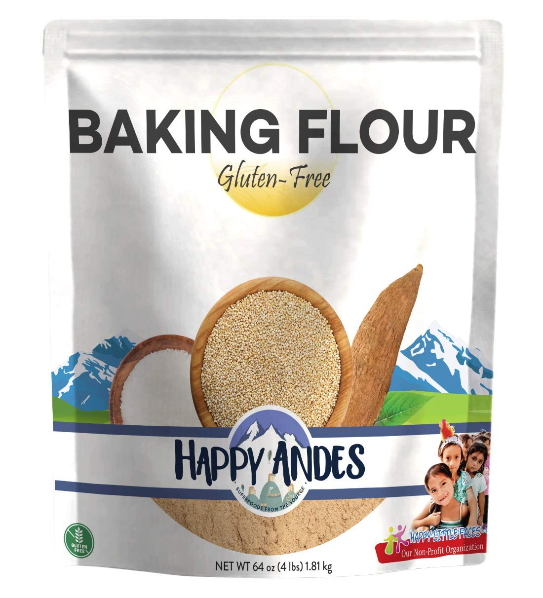 Happy Andes Gluten Free, All-Natural Baking Flour 4 lbs - Quinoa-Based Ingredients for Baked Bread - Healthy and Organic Alternative to Brownie and Cake Recipes - No Rice, No Xanthan Gum, Non-GMO by Happy Andes