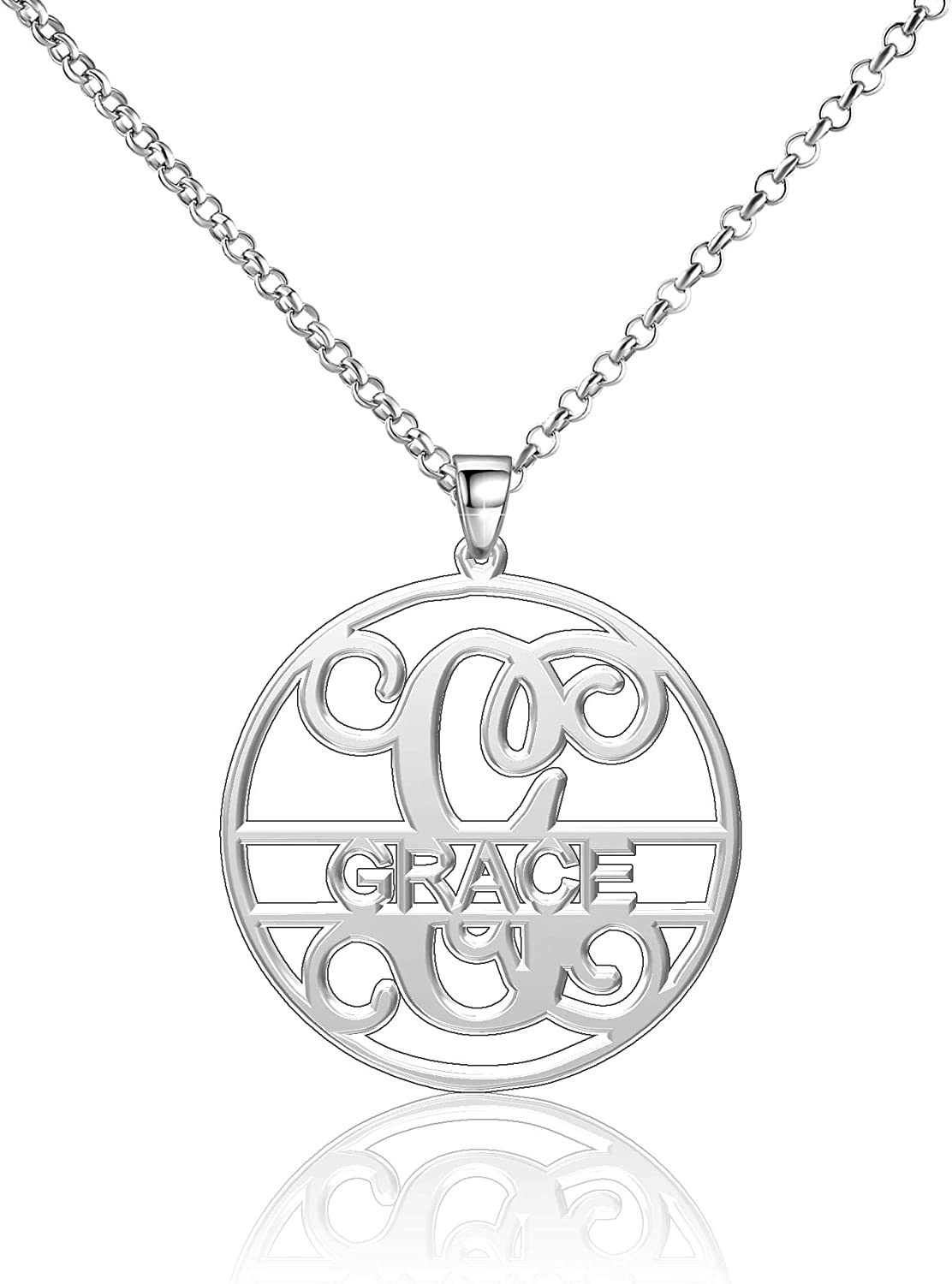 Moonlight Collections Grace Necklace Initial Necklace for Women Custom Nameplate Personalized Gift