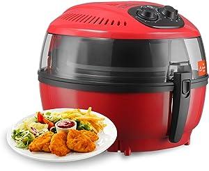 Double Knobs Digital Electric Air Fryer Calorie Reducer Oil-Less Griller 10QT - Red Color