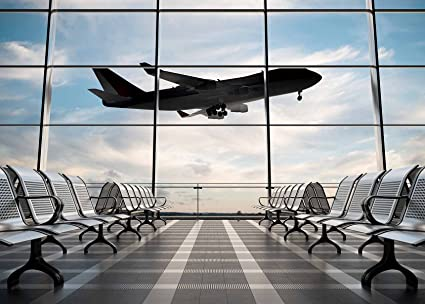 Airport Terminal Background - Airplane Departure Airport Lounge-  Photography Backdrop - Great for Studio, Booth, Party, Photo, Selfie,Baby