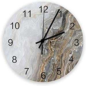 Fantasy Staring 12 Inch Silent Non-Ticking Wall Clock- Marble Granite Golden Wave Pattern Battery Operated Round Wooden Wall Clock for Home Office School