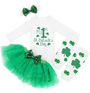 211d6613b07 Baby Girl My 1st ST Patrick s Day Green Bodysuit Tutu Headband Outfit Set
