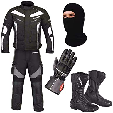 Racing Touring Events Jacket Gloves Mr.Pro A Full Set of Waterproof Motorbike Motorcycle Moped 2 Piece Suit in Cordura Fabric and CE Approved Armour Balaclava Trouser Boots