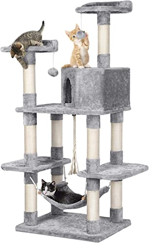 YAHEETECH Cat Tree Cat Condo 58.5 Inches Modern Cat Activity Tree House Furniture for Large Cats with Scratching Post and Hammock