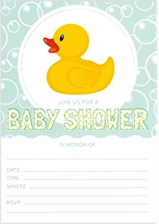 24 Rubber Ducky 5x7 Gender Neutral Baby Shower Invites With 24 White  Envelopes