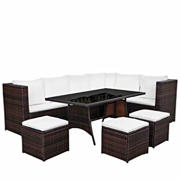 Gut Gartenmöbel Set 8er Essecke Ecklounge U0026quot;AsVIVA Comfort Diningu0026quot; |  Premium Polyrattan Braun |