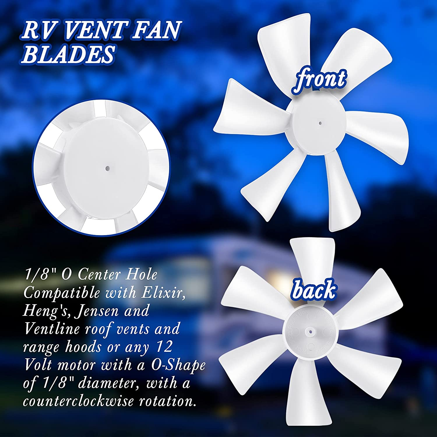 4 Pieces 6 Inch Replacement White Vent Fan Blades 2//25 Inch// 0.08 Inch Round Bore RV Vent Fan Blades RV Bathroom Vent Fan Exhaust Fan Blade Compatible with 12 Volt Motors with 0.094 Inch Round Shaft