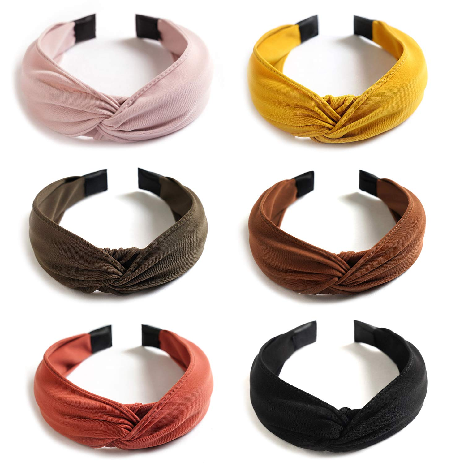 6 Pack Wide Plain Headbands,Unime Twist Knot Turban Headband Yoga Hair Band Fashion Elastic Hair Accessories for Women and Girls,Children 6 Colors by UNIME