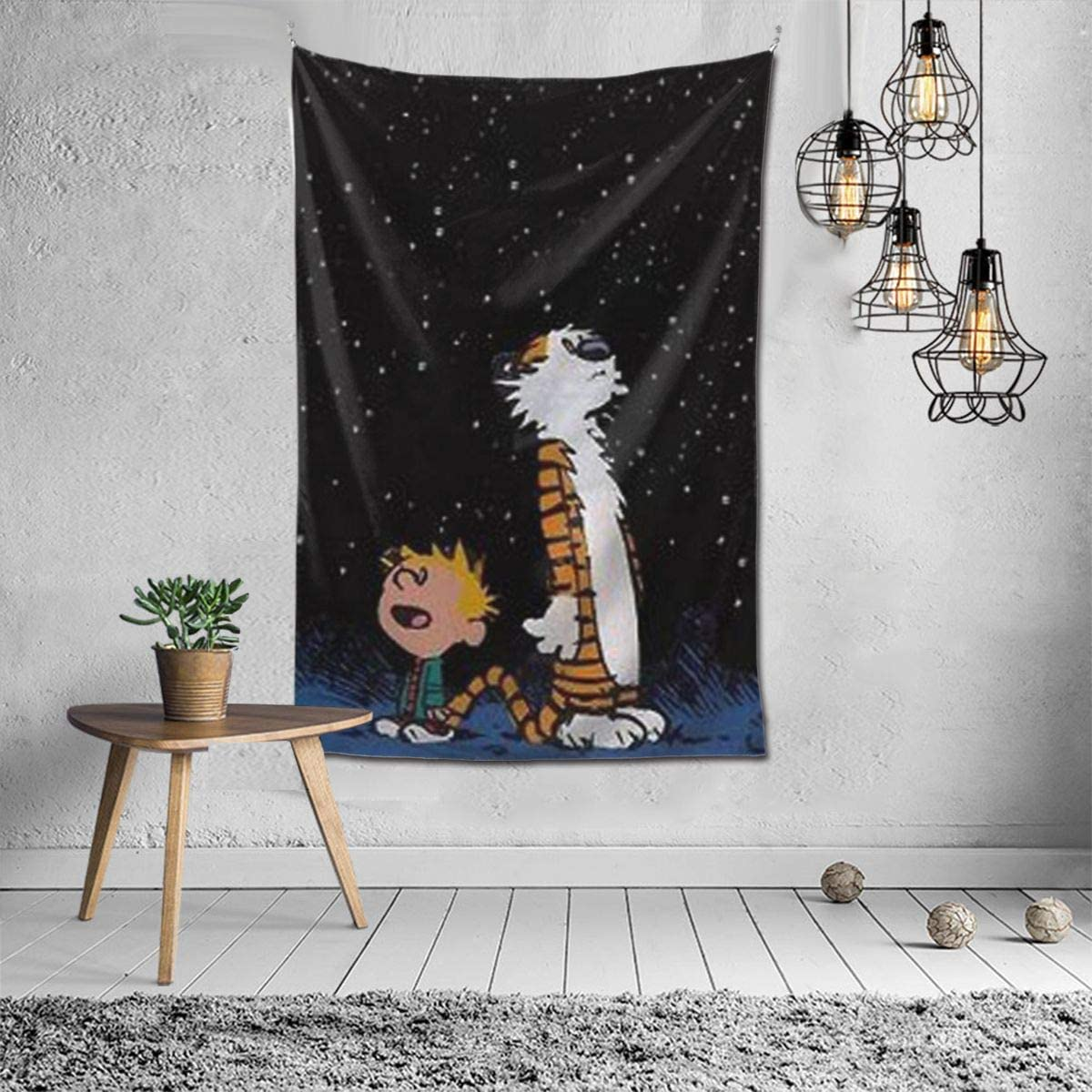 Primrosy Calvin-and-Hobbes Tapestry Wall Hanging Hippie Bedding for Living Room Bedroom Dorm Home Art Decor Blanket 60 x 51 Inch