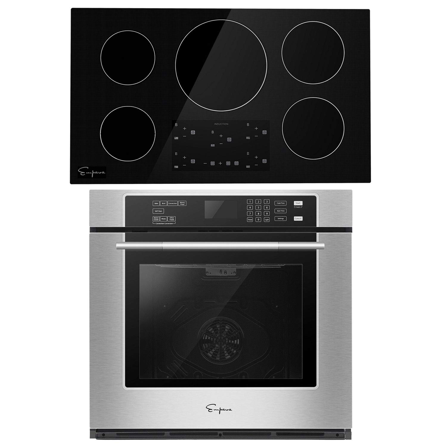 Empava 30 Inch Electric Single Wall Oven with Self-cleaning Convection Fan and 36 Inch Induction Cooktop with 4 Power Boost Burners Smooth Surface Vitro Ceramic Glass