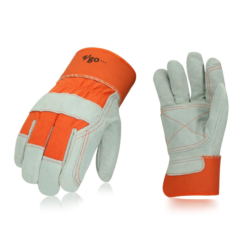 Vgo 3 Pairs Cow Split Leather Men's Work Gloves with Safety Cuff (Size L,Orange,CB3060)