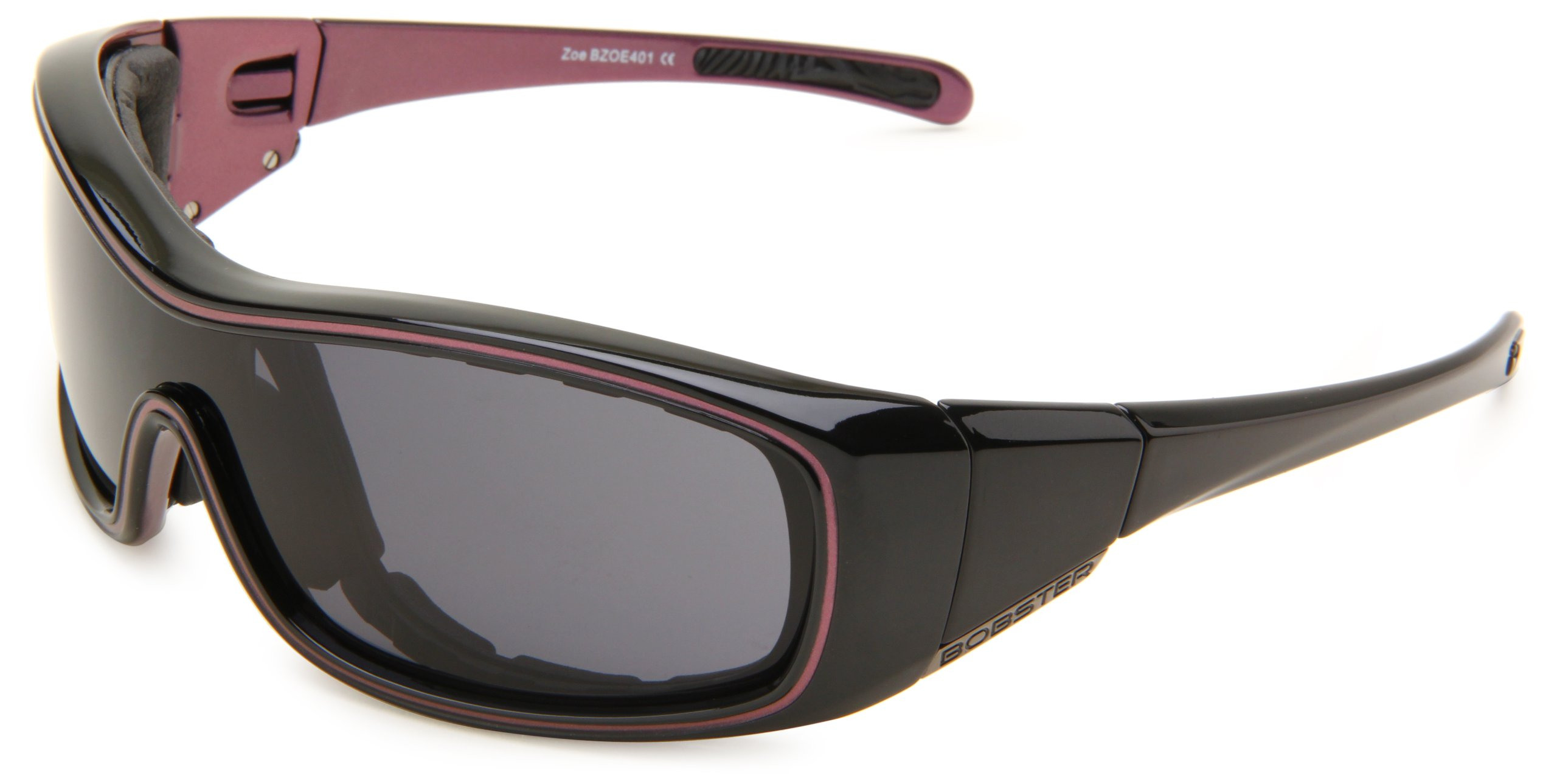 Bobster Zoe Convertible Oval Sunglasses,Black & Purple Frame/Smoked Anti Fog Lens,One Size