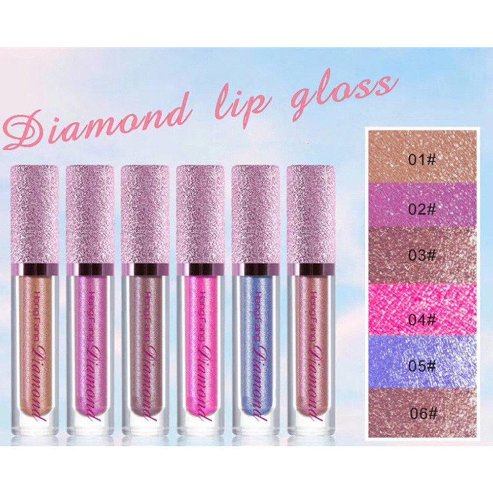 Diamond Pearlescent Lip Gloss Mermaid Lipstick Non-stick Cup (12 Set)