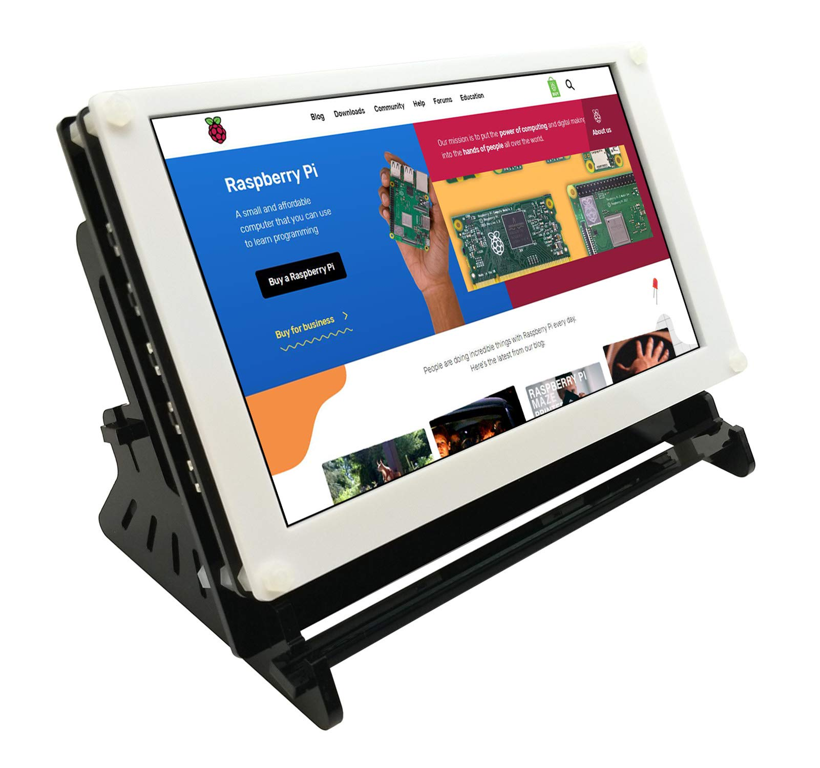 Eleduino Raspberry Pi 7 Inch 1024x600 IPS Capacitive Touchscreen Display LCD Hdmi Input USB Powered With Case