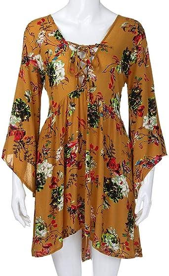 FRAUIT luźna sukienka mini z nadrukiem kwiatowym, luźna, letnia sukienka, luźna, z krÓtkim rękawem, elegancka sukienka w stylu boho, z kieszeniami: Odzież