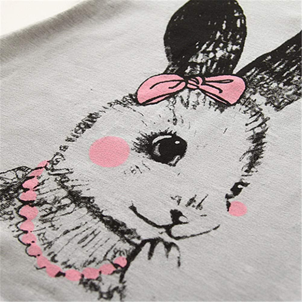 Mud Kingdom Little Girls T-Shirt Cute Cartoon Bunny Summer Holiday