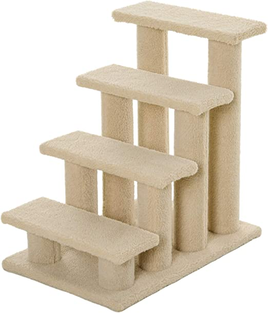 Pawhut Animales Gato Escaleras Escalera escalera escalera para perros y gatos y perros 4 Nivel marrón claro 63,5 x 43 x 60 cm: Amazon.es: Productos para mascotas